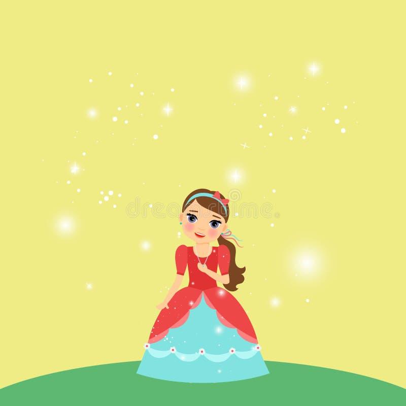 Красивая принцесса шаржа на желтой предпосылке бесплатная иллюстрация