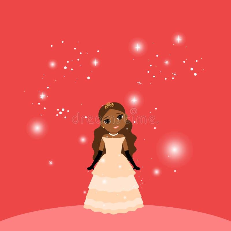 Красивая принцесса шаржа на красной предпосылке иллюстрация штока