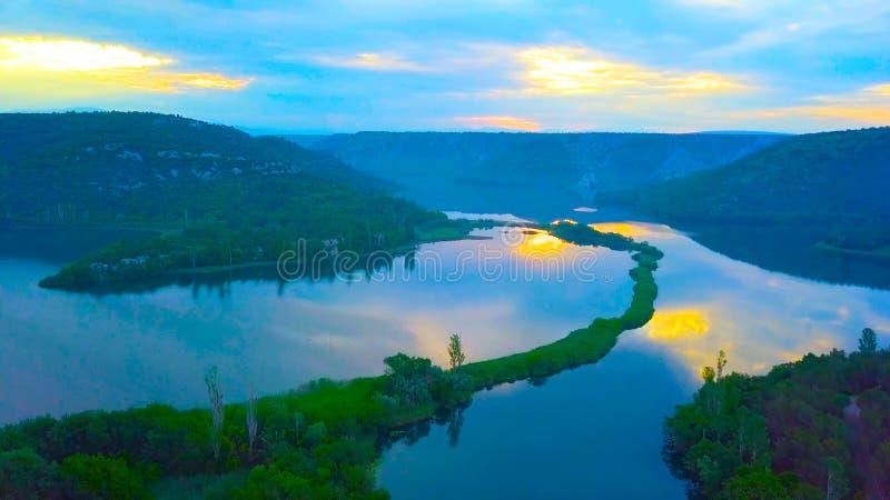 Красивая природа острова Mljet во взгляде глаза птицы Хорватии Хорватии, Европы стоковые фотографии rf