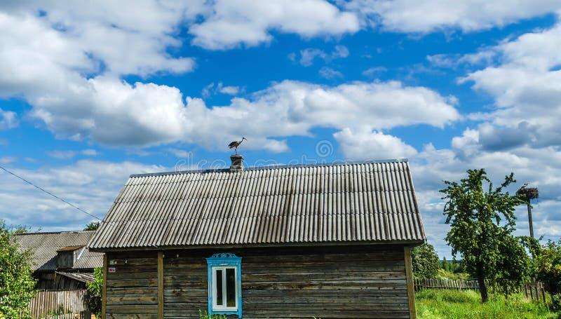 Красивая птица аиста с красным клювом сидит на камине деревянного дома в деревне против стоковые изображения rf
