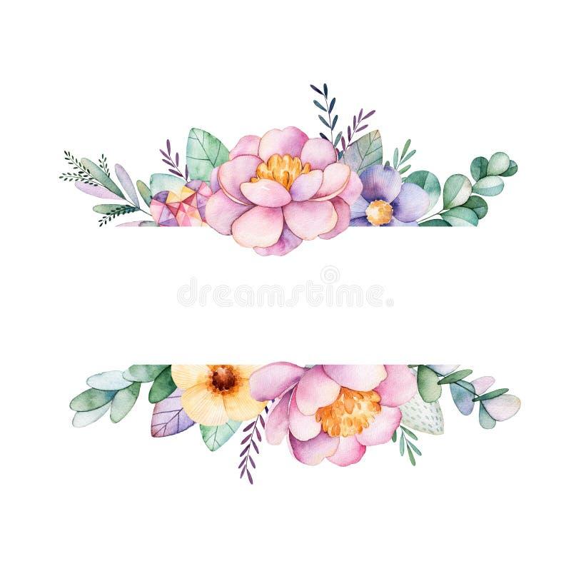 Красивая рамка границы акварели с пионом, цветком, листвой, ветвями иллюстрация штока