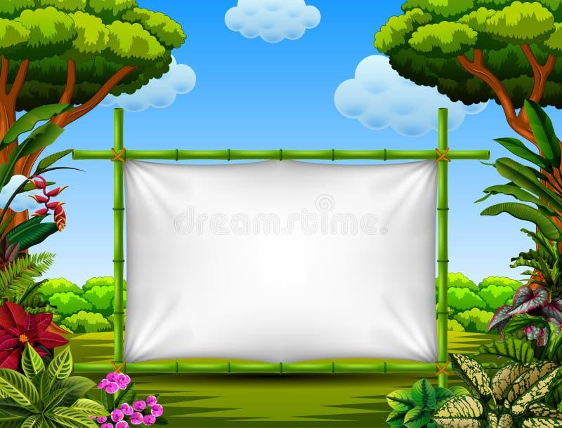 Красивая рамка природы с акцентом дерева и цветка иллюстрация вектора
