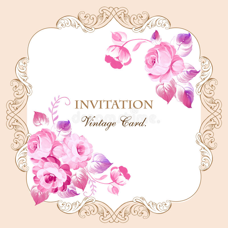 Красивая рамка с розовыми розами в винтажном стиле Для wedding ca бесплатная иллюстрация