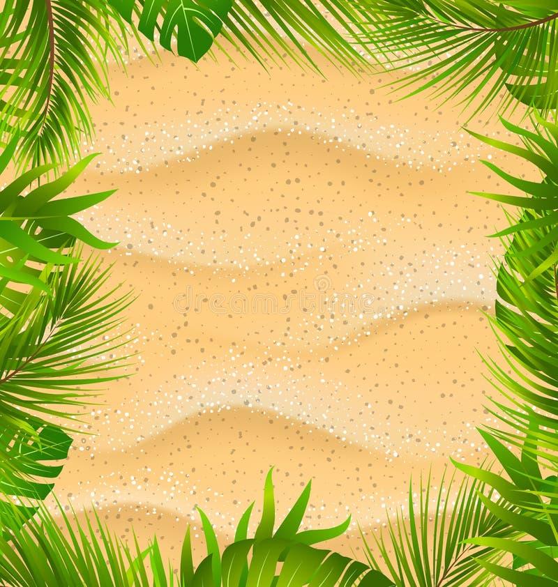 Красивая рамка с текстурой Sandy и экзотическими заводами бесплатная иллюстрация