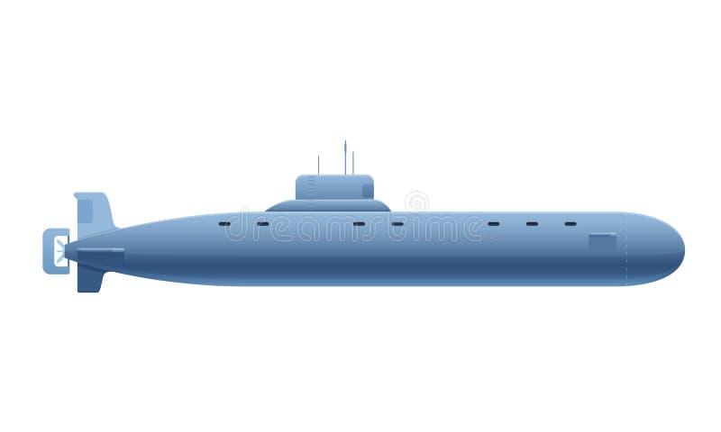Красивая реалистическая металлическая подводная лодка Военный корабль, подводный корабль, взгляд со стороны иллюстрация штока