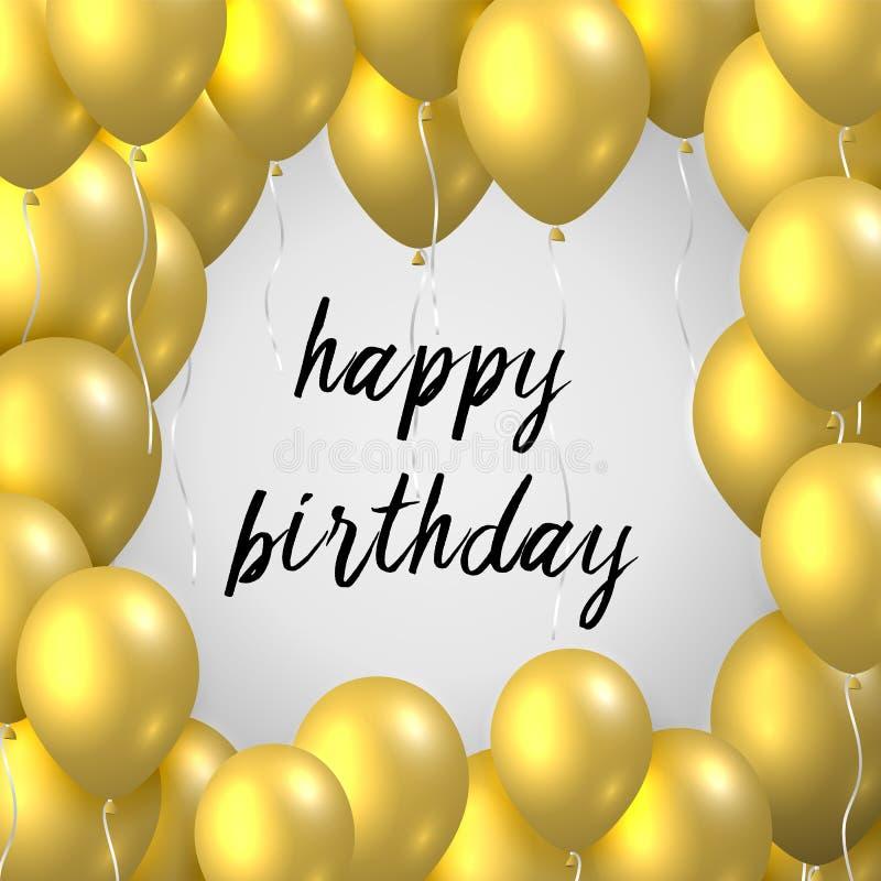 Красивая реалистическая поздравительная открытка вектора с днем рождений с золотыми воздушными шарами летая партии на белой предп бесплатная иллюстрация