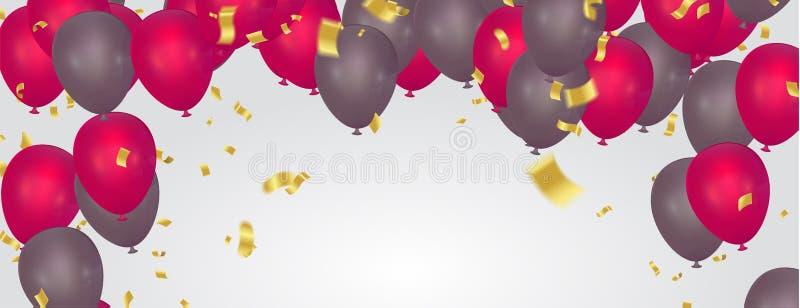 Красивая реалистическая поздравительная открытка вектора с днем рождений воздушных шаров партии Вы приглашены к партии бесплатная иллюстрация