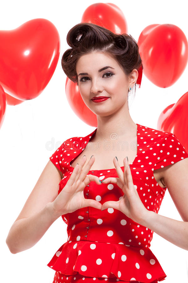 Красивая ретро женщина празднуя валентинки стоковая фотография