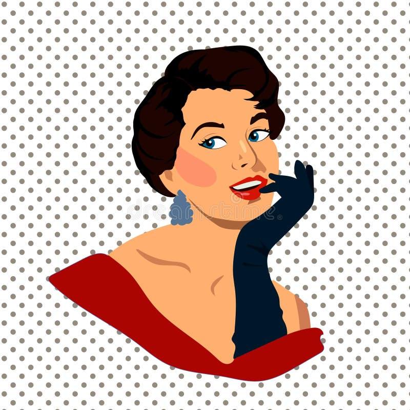 Красивая ретро молодая женщина с перчатками, иллюстрация вектора иллюстрация вектора