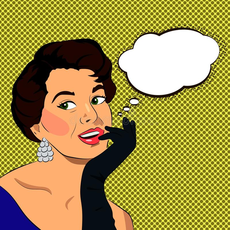 Красивая ретро молодая женщина с перчатками, иллюстрация вектора с speechbubble для текста бесплатная иллюстрация