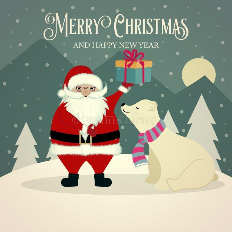 Красивая ретро рождественская открытка с полярным медведем и Санта иллюстрация вектора