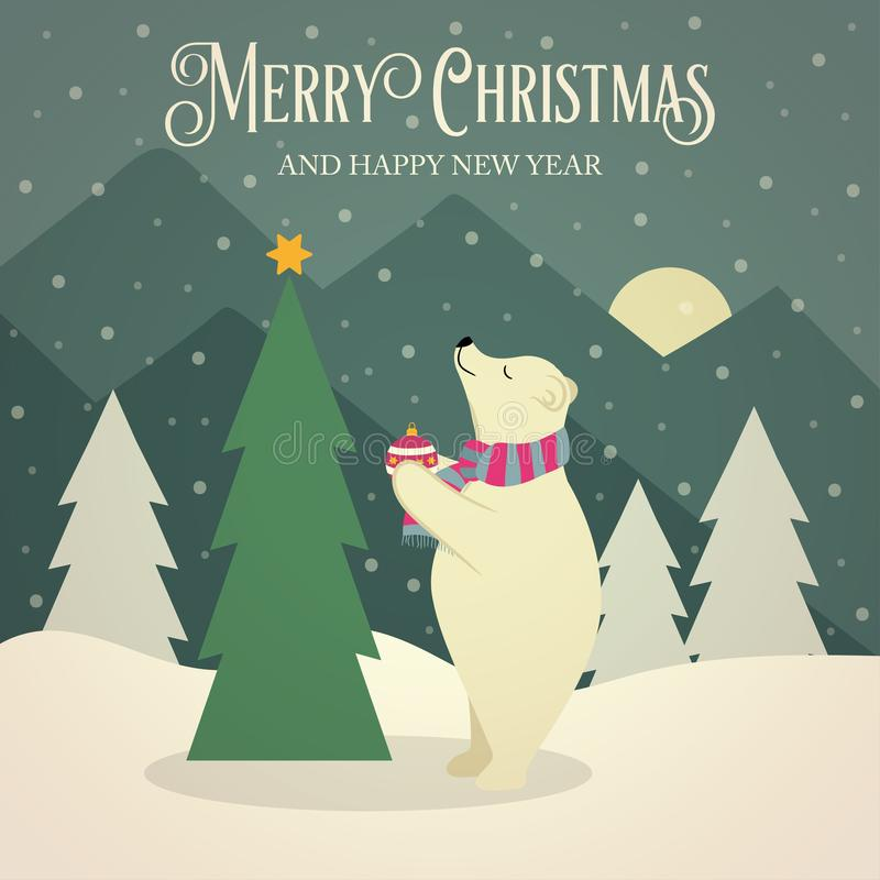 Красивая ретро рождественская открытка с полярным медведем и tre рождества иллюстрация штока