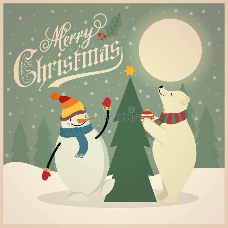 Красивая ретро рождественская открытка с полярным медведем, снеговиком и рождественской елкой иллюстрация штока