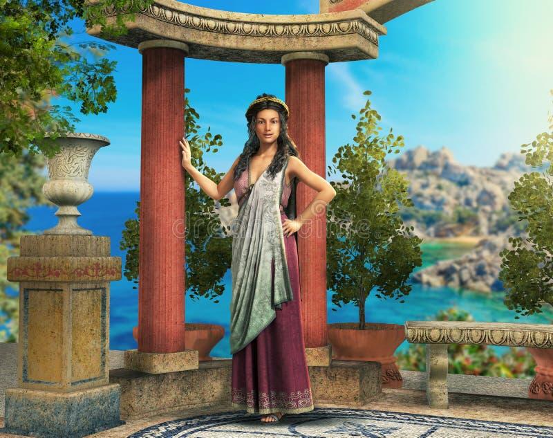 Красивая римская греческая женщина в среднеземноморской установке иллюстрация вектора