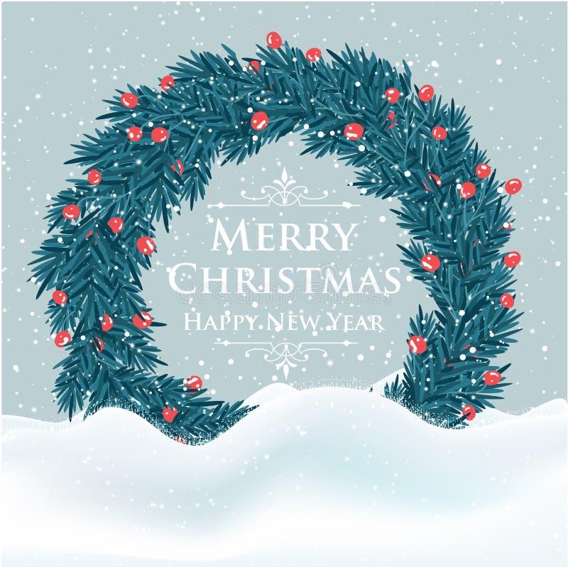 Красивая рождественская открытка с венком и приветствиями дерева иллюстрация вектора