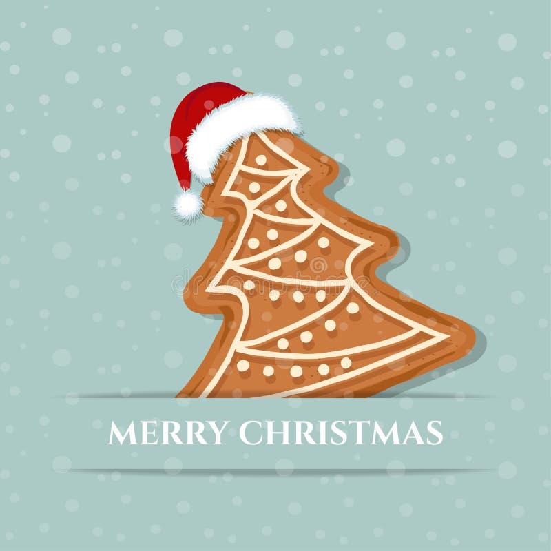 Красивая рождественская открытка с деревом пряника иллюстрация штока