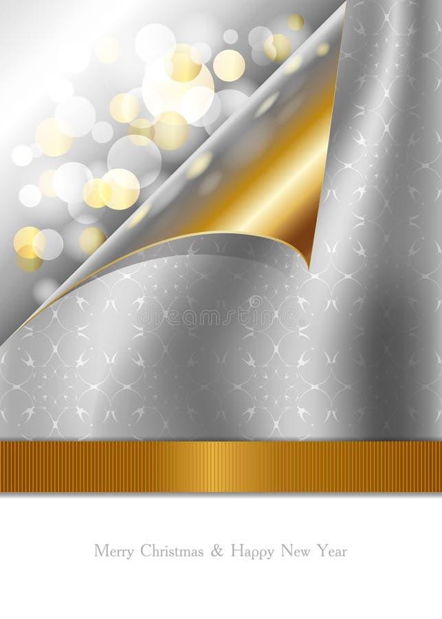 Красивая рождественская открытка с золотым и серебряным de бесплатная иллюстрация