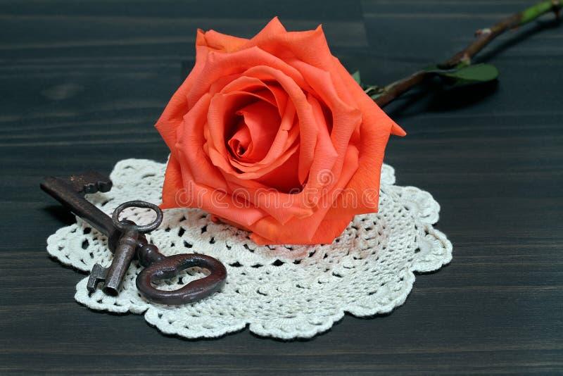 Красивая роза апельсина на античном doilie и винтажных ключах стоковая фотография rf