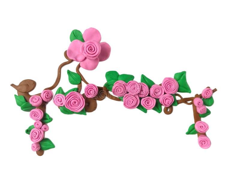 Красивая розовая глина пластилина, сладкое тесто цветка стоковое фото
