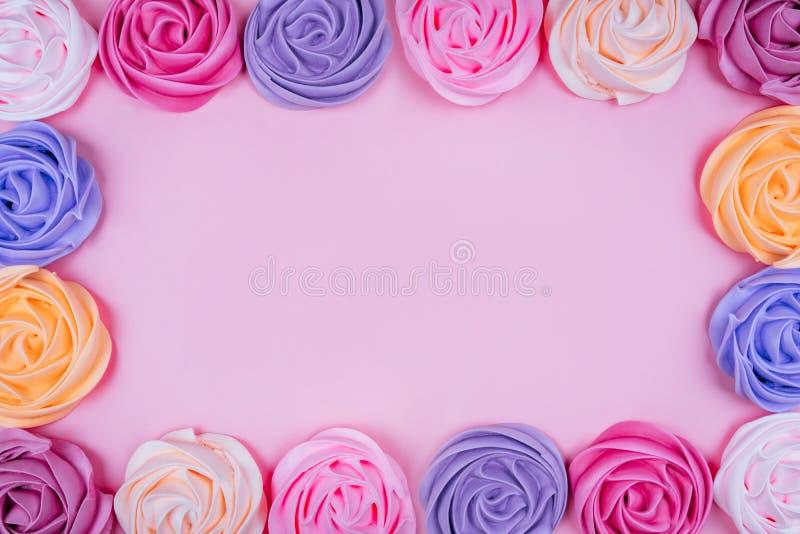 Красивая розовая меренга стоковые изображения rf