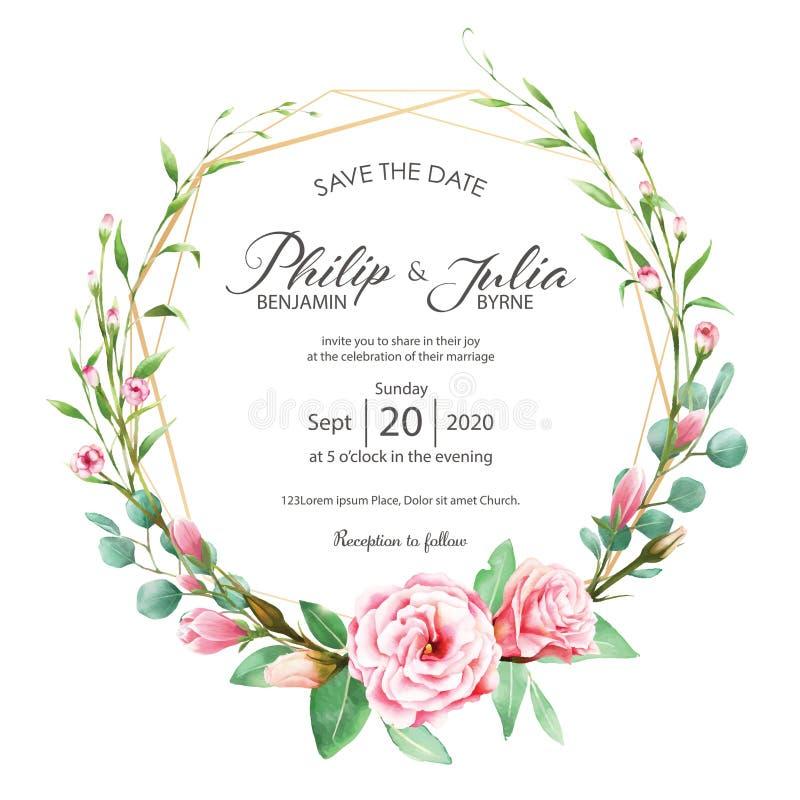 Красивая розовая флористическая карточка приглашения свадьбы на белом backgroun иллюстрация штока