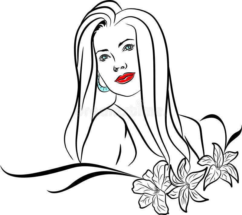 Красивая романтичная и нежная девушка иллюстрация вектора