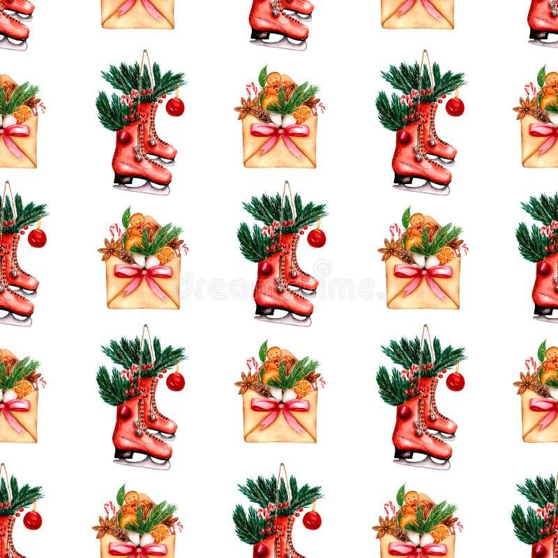 Красивая рука покрасила картину зимних отдыхов конверта с красной лентой и элементы настроения рождества и коньки с иллюстрация вектора