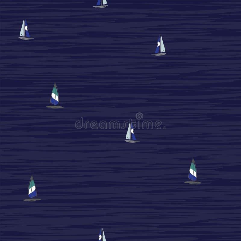 Красивая рука рисуя красочный прибой ветра плавая на океан иллюстрация вектора