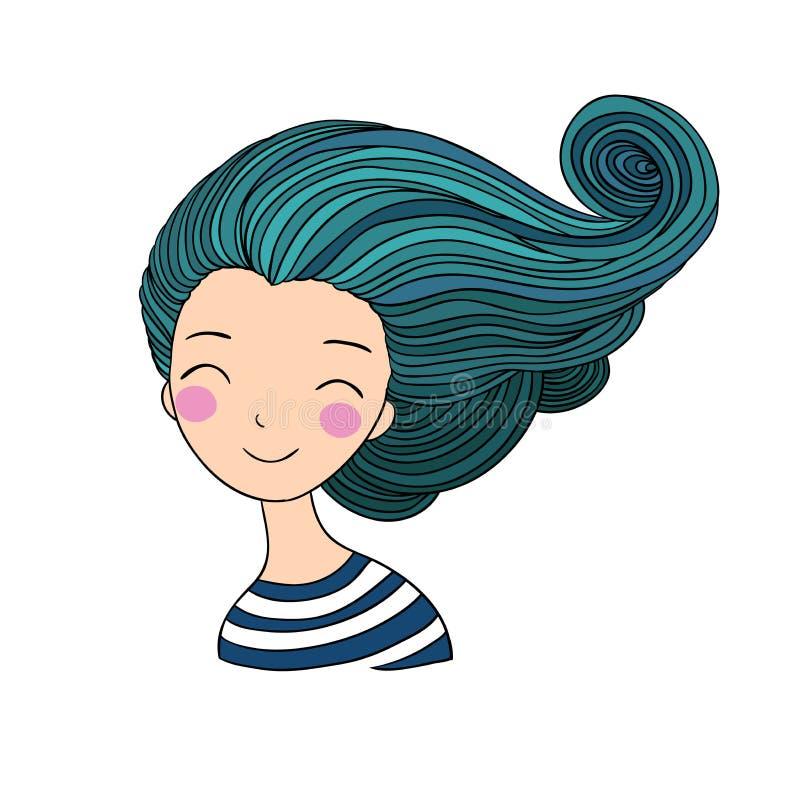 Красивая русалка маленькой девочки абстрактная тема моря предпосылки абстракции иллюстрация штока