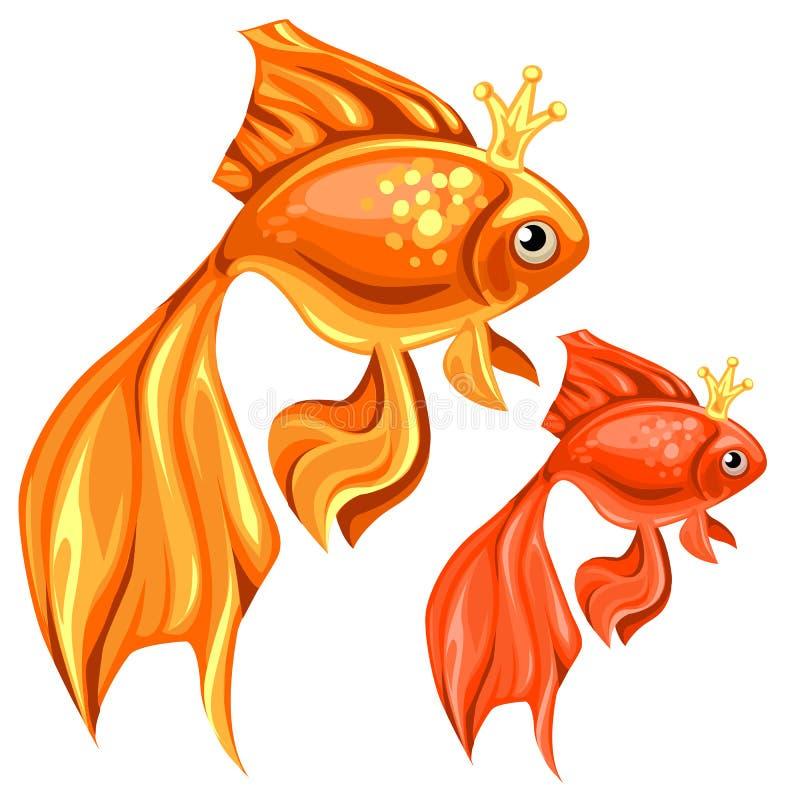 Красивая рыбка 2 с волшебными кронами иллюстрация вектора