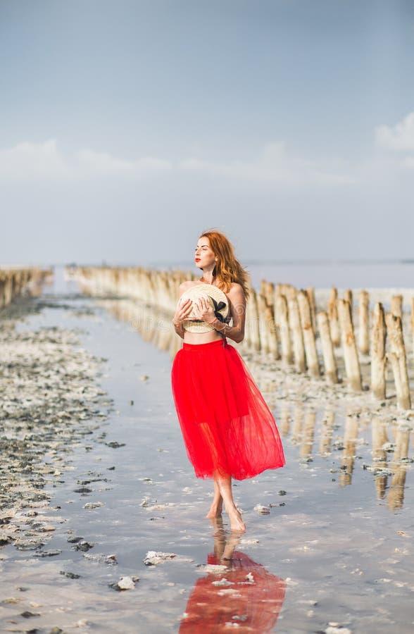 Красивая рыжеволосая маленькая девочка на пляже стоковое фото rf