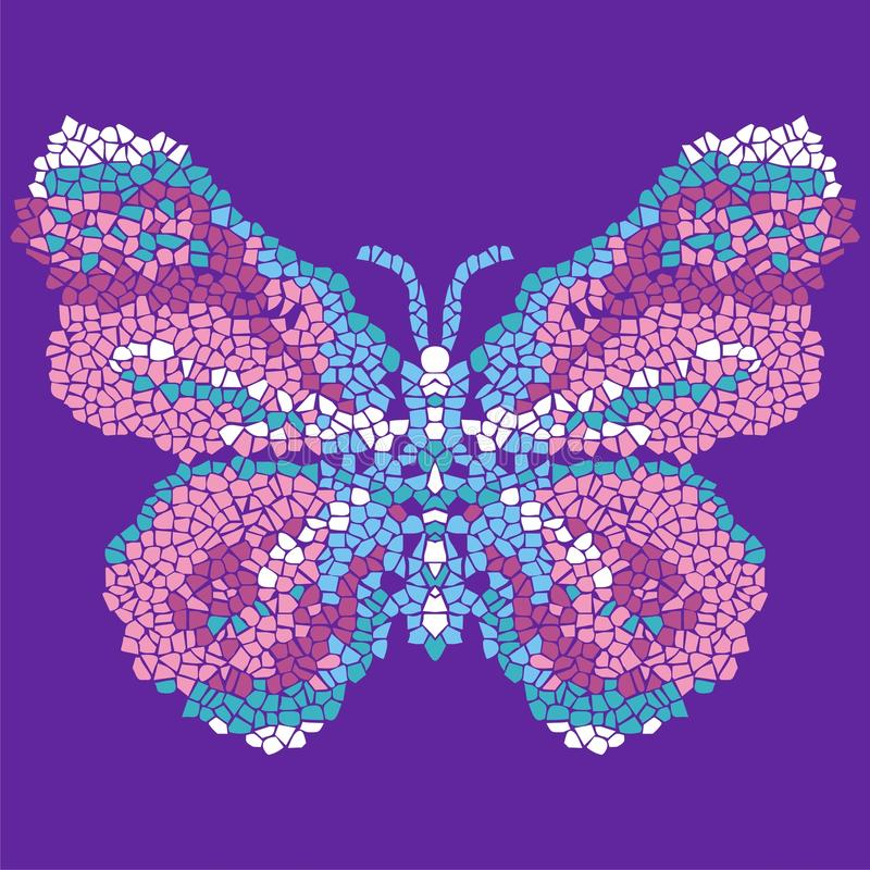 Красивая, светлая, воздушная мозаика бабочки Модная орнаментальная картина иллюстрация вектора