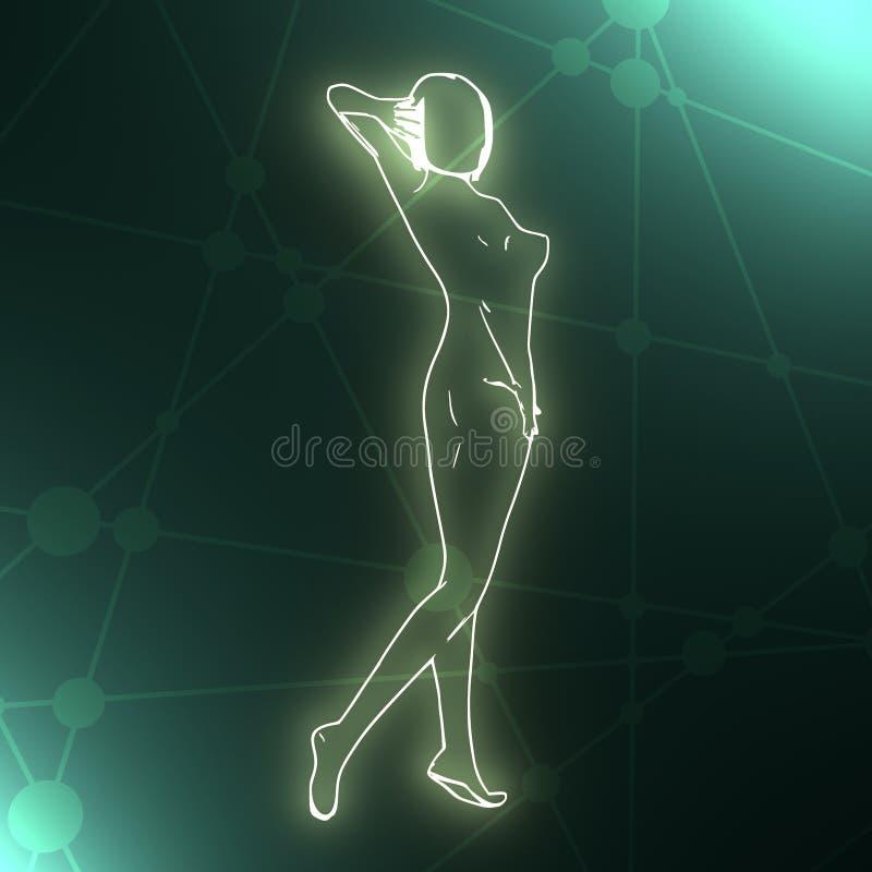 Красивая сексуальная девушка фитнеса иллюстрация штока