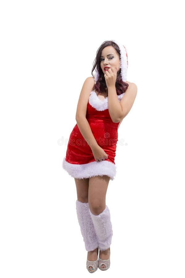 Красивая сексуальная счастливая женщина в костюме Санта Клауса стоковые изображения
