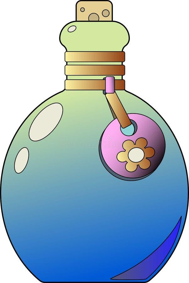 Красивая стеклянная бутылка с биркой Яркий градиент, шнур и пробочка иллюстрация штока