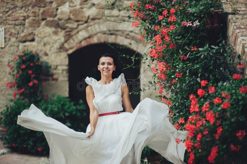Красивая стильная итальянская невеста брюнет на предпосылке длиной стоковые фото