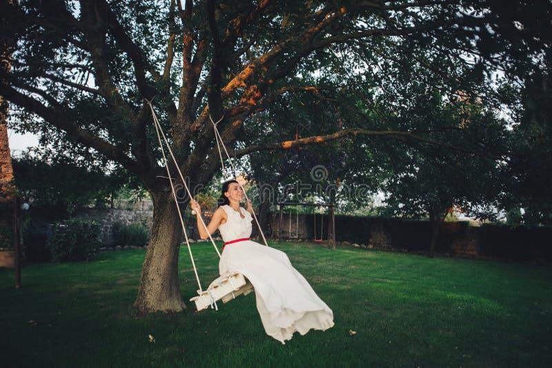 Красивая стильная итальянская невеста брюнет на предпосылке длиной стоковая фотография rf