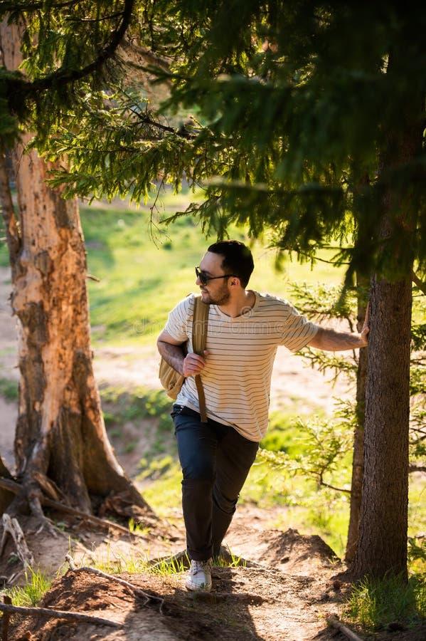 Красивая стильная футболка и солнечные очки молодого человека нося белая с рюкзаком в его руке путешествуют в древесинах стоковые изображения rf
