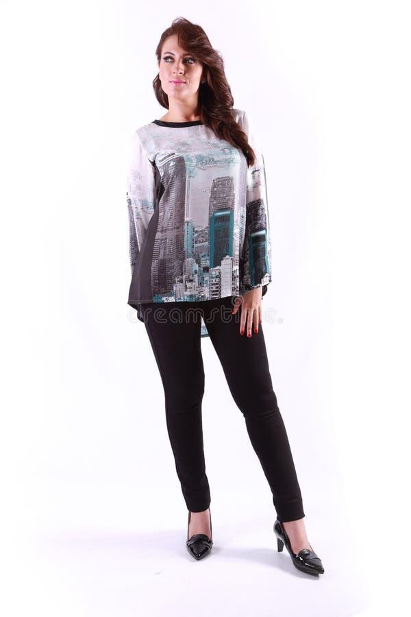 Красивая стойка девушки очарования стоковое изображение rf
