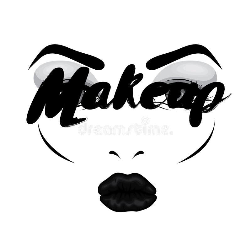 Красивая сторона ` s женщины с составом eyes губы Косметика Иллюстрация вектора для карточки или плаката Печать на одеждах Advert иллюстрация вектора