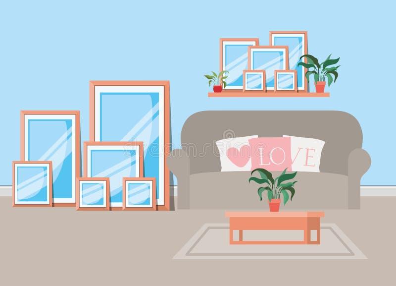Красивая сцена дома живущей комнаты иллюстрация вектора