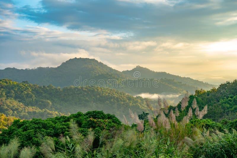 красивая сцена захода солнца долины горы высоты с предпосылкой облачного неба стоковая фотография rf