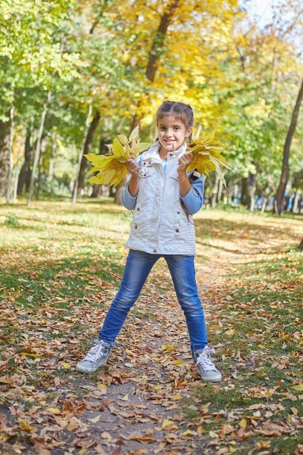 Красивая счастливая девушка в парке осени стоковая фотография rf