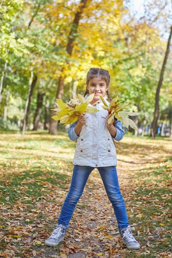 Красивая счастливая девушка в парке осени стоковое изображение
