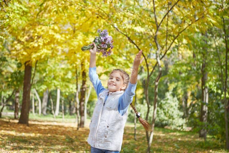 Красивая счастливая девушка в парке осени стоковые изображения rf
