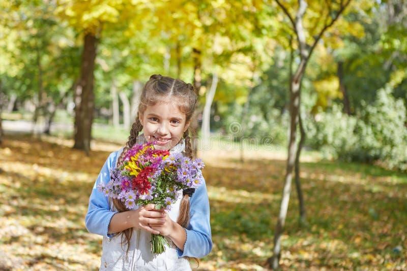 Красивая счастливая девушка в парке осени стоковое изображение rf