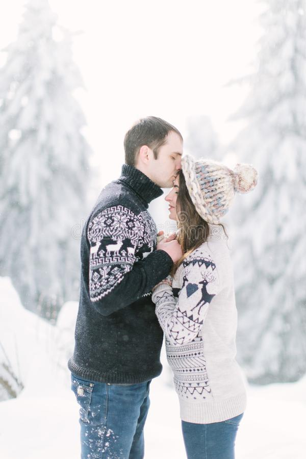 Красивая счастливая пара в зиме одевает идти outdoors в парке стоковое изображение