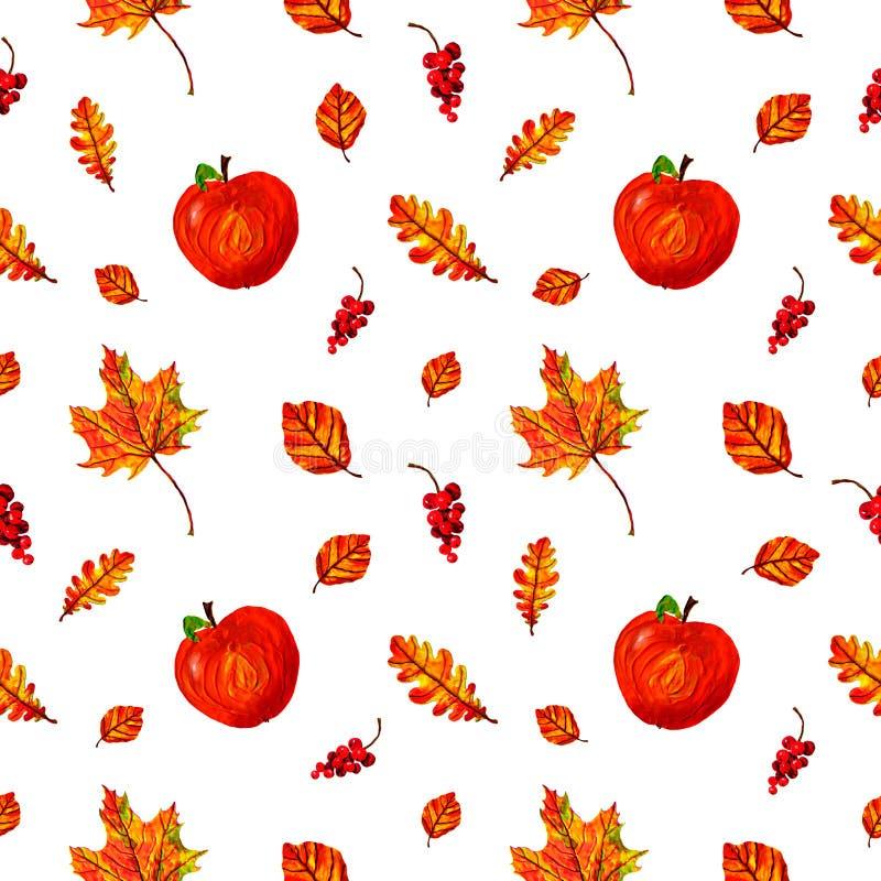Красивая теплая безшовная картина с красными яблоками, листьями осени и ягодами иллюстрация штока