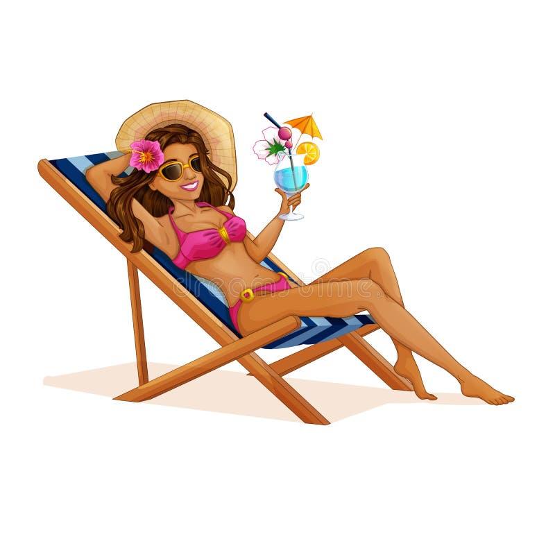Красивая туристская девушка в купальнике отдыхая на deckchair с коктейлем в ее руках Иллюстрация пляжа вектора иллюстрация штока