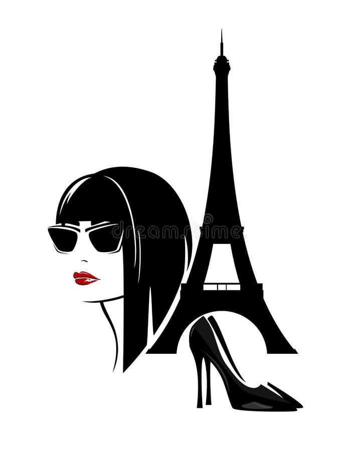Красивая ультрамодная женщина в наборе дизайна вектора Парижа иллюстрация вектора